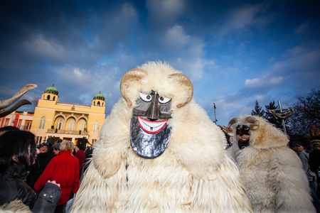 MOHACS, HUNGARY - FEBRUARY 17: Unidentified people in mask participants at the Mohacsi Busojaras, it is a carnival for spring greetings February 17, 2015 in Mohacs, Hungary.