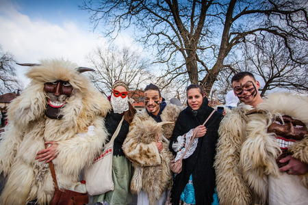 mohacs: MOHACS, HUNGARY - FEBRUARY 17: Unidentified people in mask participants at the Mohacsi Busojaras, it is a carnival for spring greetings February 17, 2015 in Mohacs, Hungary.