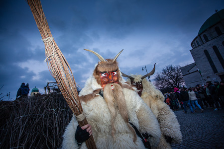 farsang: MOHACS, HUNGARY - FEBRUARY 17: Unidentified people in mask participants at the Mohacsi Busojaras, it is a carnival for spring greetings February 17, 2015 in Mohacs, Hungary.