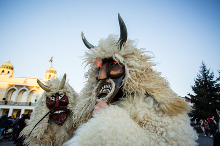 MOHACS, HUNGARY - FEBRUARY 4: Unidentified people in mask participants at the Mohacsi Busojaras, it is a carnival for spring greetings) February 4, 2016 in Mohacs, Hungary. Editorial