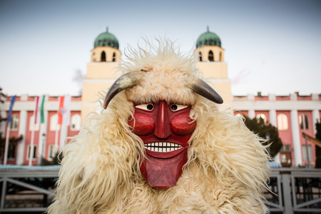 MOHACS, HUNGARY - FEBRUARY 4: Unidentified people in mask participants at the Mohacsi Busojaras, it is a carnival for spring greetings February 4, 2016 in Mohacs, Hungary.