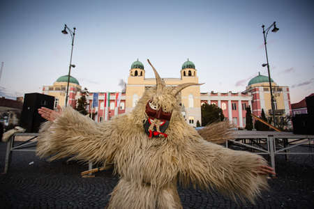 traditonal: MOHACS, HUNGARY - FEBRUARY 4: Unidentified people in mask participants at the Mohacsi Busojaras, it is a carnival for spring greetings February 4, 2016 in Mohacs, Hungary.