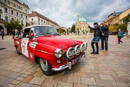 PECS - OCTOBER 7 : 50th Mecsek Rally starting at the Szechenyi Square in Pecs on 7 October 2016 in Pecs, Hungary. Mecsek Rally is a famous hungarian car race Editorial