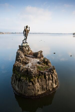 Statue in lake, Tata, Hungary