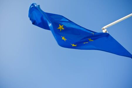 European Union blue flag with yellow stars