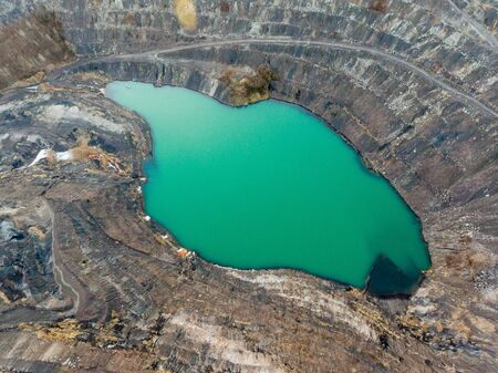 Deep lake in place of  mining pit Stok Fotoğraf