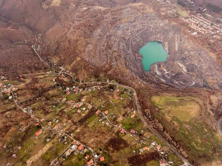 Deep lake in place of the mining pit Stok Fotoğraf