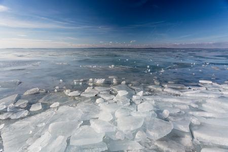 frozen lake Balaton with beautiful sky Imagens