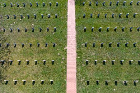 tribute: White crosses in German Cemetery, aerial view