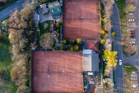 tennis court in a city Stock Photo