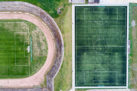 rival: Top view of soccer field or football field