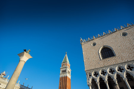 Column of San Marco, as a lion, on Saint Marks place in Venice. Italy, Europe Stock Photo