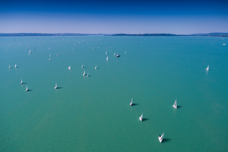 White Sail Boats on Lake Balaton