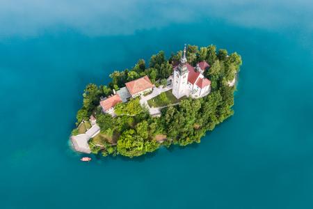 De kerk van de veronderstelling, Bled, Slovenië Stockfoto