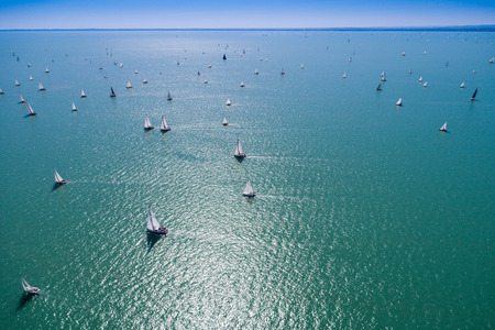 White Sail Boats on Lake Balaton