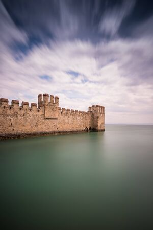 Castle Scaliger in  Sirmione on lake Garda. Italy, long exposure