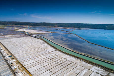 briny: View of Salt evaporation ponds in Secovlje, Slovenia. Aerial photo