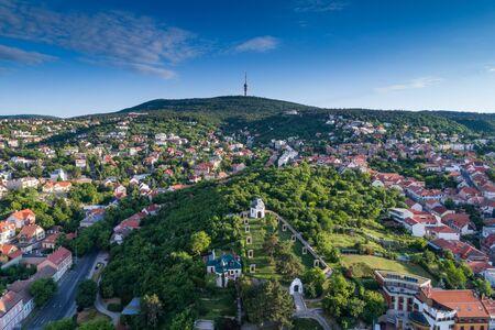 Pecs, Szekesegyhaz. Bird eye view Banco de Imagens