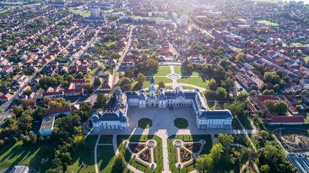 old photo: Aerial phooto of Festetics Castle in Keszthely, Hungary