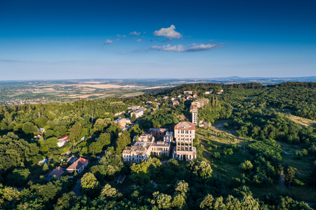 aerial view of abandoned mine tower in hungary