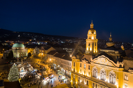 Aerial photo of Advent in Pecs, Hungary Stock Photo