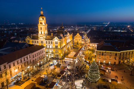 Aerial photo of Advent in Pecs, Hungary Editorial