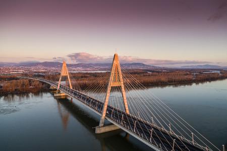 Aerial photo of the Megyeri-bridge over the Danube river