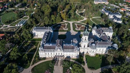 Aerial phooto of Festetics Castle in Keszthely, Hungary