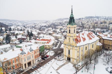Bird eye view of Szekszard with church at winter