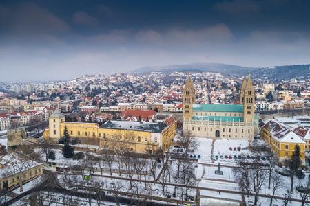 Pecs, Szekesegyhaz. Bird eye view at winter
