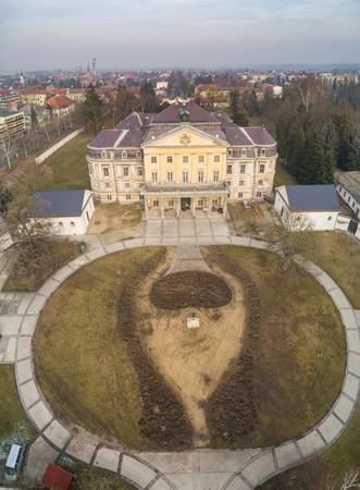 Aerial photo of Batthyany castle, Kormend Editorial