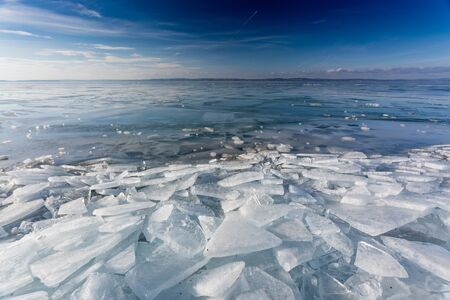 frozen lake Balaton with beautiful sky