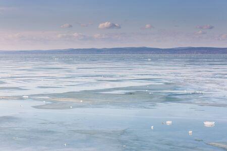 frozen lake Balaton with beautiful sky Stock Photo