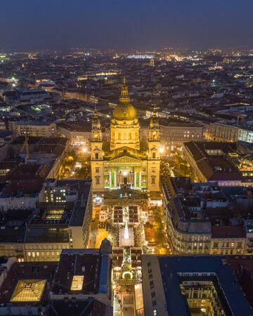 St. Stephen's Basilica in Budapest Hungary at night