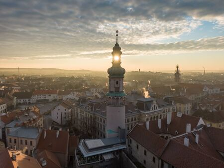 Aerial photo of medieval Sopron with fire tower