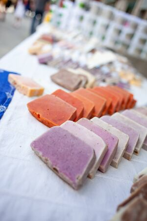 Variety of home made nougat on market