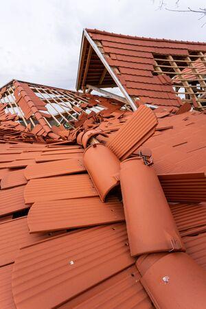 Broken roof after a storm