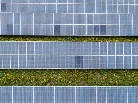 Aerial view to solar power plant Stockfoto