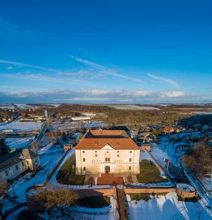 Aerial photo of Castle in Ozora, called Ozorai Pipo vara