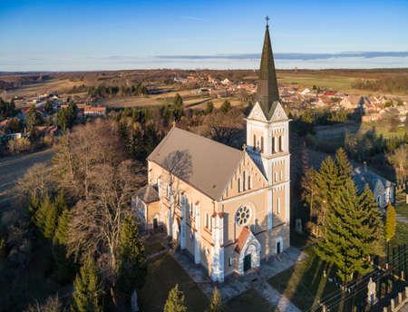 Aerial photo of Church in Inke
