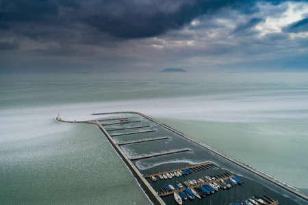 Aerial photo of Sailing boats in Lake Balaton, at Balatonfenyves Imagens