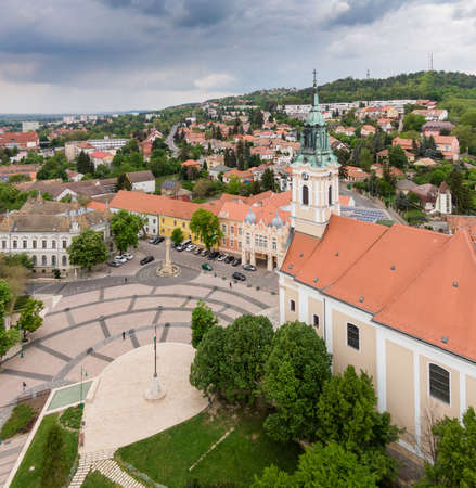 Bird eye view of Szekszard, Bela square 免版税图像