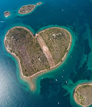 Heart shaped island of Galesnjak, aerial view, Dalmatia region of Croatia