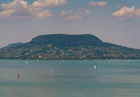 Aerial photo with sailing boats on Lake Balaton wit Badacsony