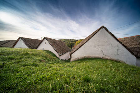 Wine cellars in a row in Southern Hungary in Palkonya village Banque d'images