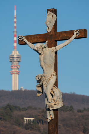 jesus christ ascension on cross with Tv tower