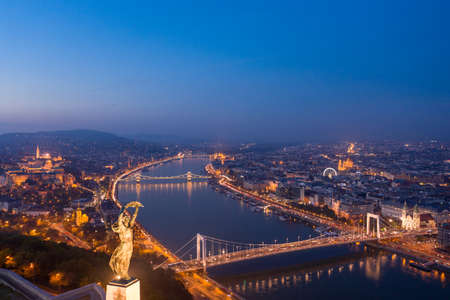 Budapest, Hungary - Aerial view of the Statue of Liberty