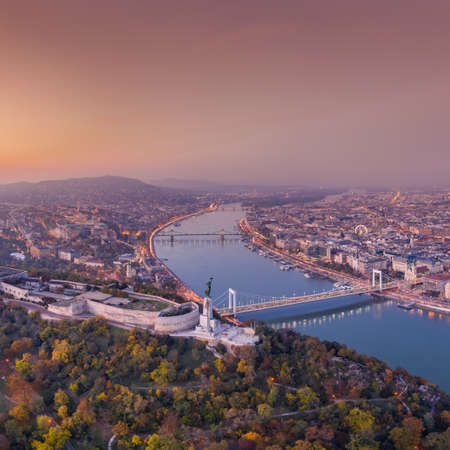 Aerial view of Budapest with beautiful sunrise