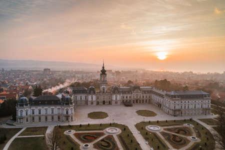 Festetics Castle in Aerial photo of Keszthely, Hungary