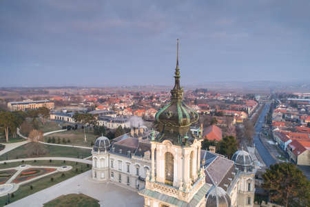Festetics Castle in Aerial photo of Keszthely, Hungary Editoriali